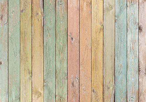 wandmotiv24 Fototapete Holz Wand pastell, XL 350 x 245 cm - 7 Teile, Fototapeten, Wandbild, Motivtapeten, Vlies-Tapeten, Brett rosa orange gelb blau M6558