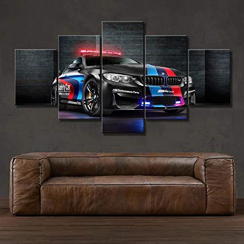 Bilder 5 Teilig Leinwandbilder Bild Auf Leinwand Vlies Wandbild Kunstdruck Wanddeko Wand Wohnzimmer Wanddekoration Deko - Polizeiauto 150 X 80 cm