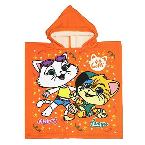 44 Gatti T99577 Asciugamano Poncho, Poliestere, Bambini, Multicolore