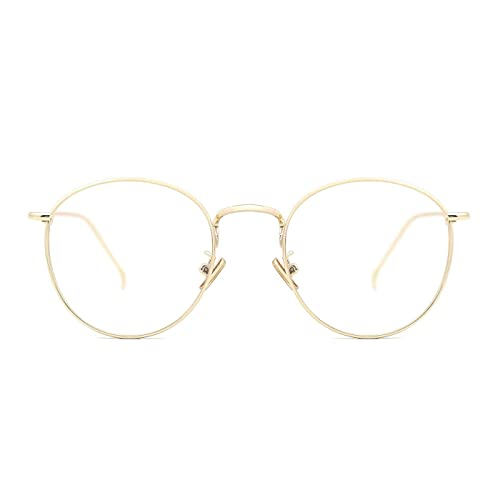 ba3248df008 TIJN Women Metal Circle Eyeglasses Fashion Full Rim Round Thin Artist Frame -Henk