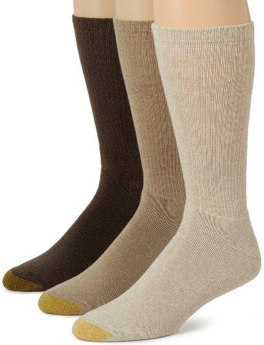 Gold Toe Men's Uptown Crew Socks, 3-Pairs, Brown, Large