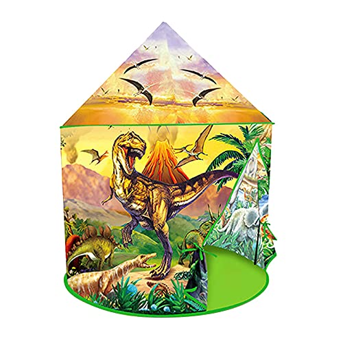 Lilangda Tienda De Campaña De Dinosaurios, Tipi Portátil Verde Emergente, Casa De Juegos Plegable con Castillo De Dinosaurios, Juguetes Y Regalos con Temática De Dinosaurios para Niños Y Niñas