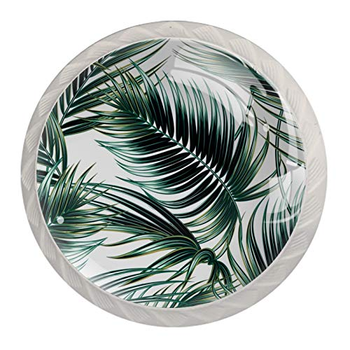 Tropical Palm Leaves Glass Cabinet Knobs 4 Pcs 30mm Drawer Handles for Kitchen Cabinets Dresser Cupboard Wardrobe,White