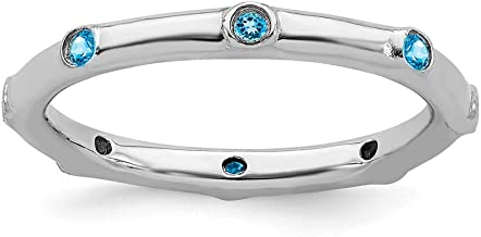 925 Sterling Silver Blue Topaz Band Ring Stone Stackable Gemstone Birthstone December Fine Jewelry For Women Gift Set