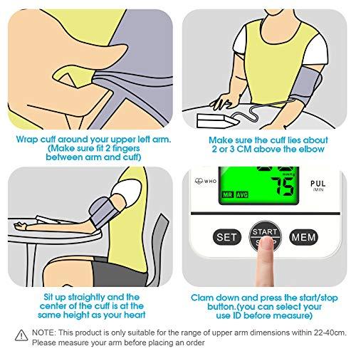 51TK2zy9QIL - Tensiómetro de Brazo Digital con Pantalla LCD, Automática de Presión Arterial y Pulso de Fuencia Cardíaca Detección, 22-40 cm Brazalete, Memorias de 2 Usuario (2 * 99)