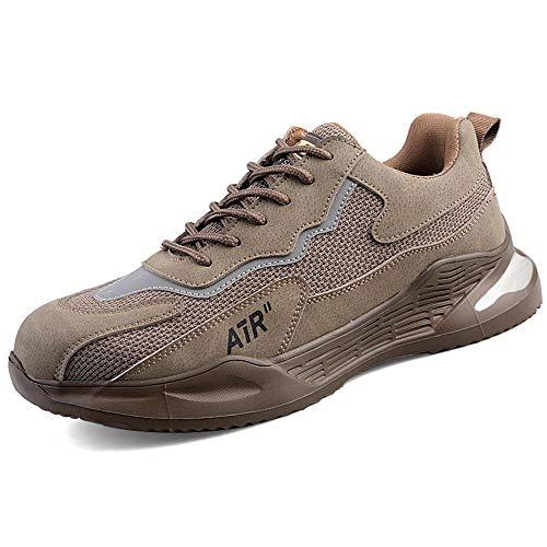 Stahlkappe Leichtgewich Breathable Schuhe,Anti-Smashing Anti-Punktion-Arbeitssicherheit Schuhe Stahlbeutelkopf-Lichtversicherungsschuhe-Khaki_43EU