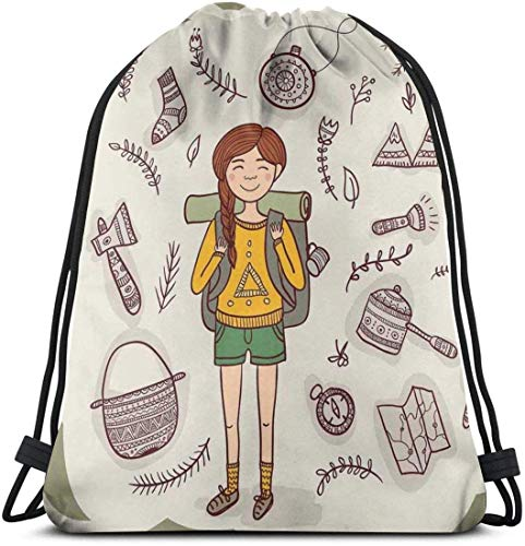 Kordelzug Rucksack Unisex Tasche für Gym Reisen, Wanderer Mädchen mit einem Rucksack mit Doodle Boho ethnischen verzierten Indianer s