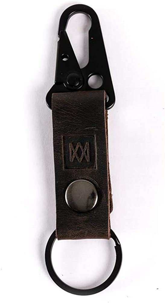 Mission Leather Co.   Full Grain Leather Tactical Keychain Ring with Clasp and Button Hardware