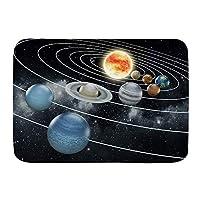 PATINISA バスマット、太陽系全8惑星と太陽冥王星木星火星金星サイエンスフィクション、マット滑り止め ソフトタッチ 丸洗い 洗濯 台所 脱衣場 キッチン 玄関やわらかマット 45x 75cm
