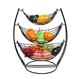 Zxb-shop Tazones de Fruta Gran Capacidad de 3 Niveles,Frutero de 3 Pisos de Metal,Frutero de Hamaca-Negro
