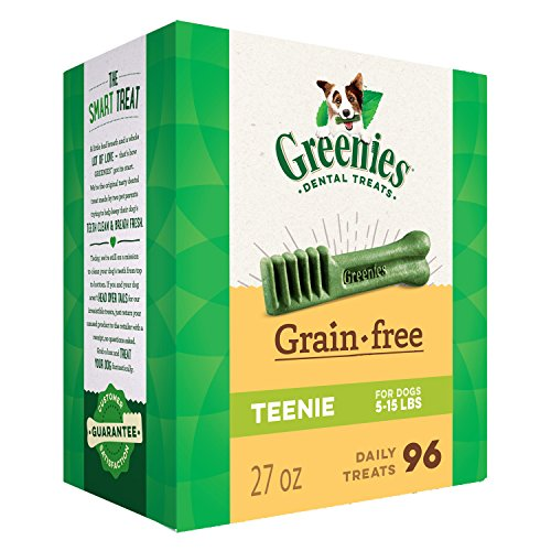 GREENIES Grain Free TEENIE Natural Dog Dental Care Chews Oral Health Dog Treats, 27 oz. Pack (96 Treats)