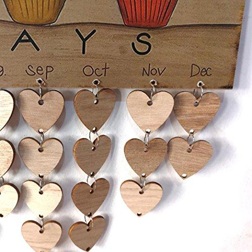 Franterd Faith Family Friends Birthday Reminder Board DIY Calendar Birch Ply Plaque Sign (C)