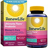 Renew Life Women's Probiotics 90 Billion CFU Guaranteed, 12 Strains, Shelf Stable, Gluten Dairy & Soy Free, 60 Capsules, Ultimate Flora Women's Care