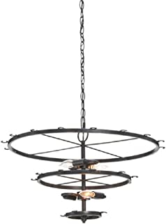 HAIXIANG 240 Wattt 4 bulbs Wine Glass Chandelier Ceiling Light 3 layers Vintage Black Iron Pendant Lamp Pendant Style 23.6Inch Wineglass Not Included for Living Room Dining Room