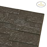 Transer 3D PE Foam Wallpaper, 6 Pcs DIY Self-Adhesive Soundproofing Acoustic Sound Absorption Wall Stickers Decor Embossed Brick Stone Panels, 24'x24'x0.3' (Gray, 6)