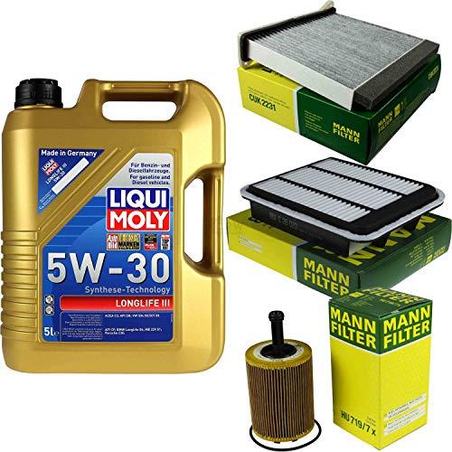 Preisvergleich Produktbild Filter Set Inspektionspaket 5 Liter Liqui Moly Motoröl Longlife III 5W-30 MANN-FILTER Innenraumfilter Luftfilter Ölfilter