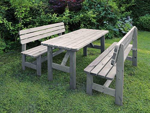 Promadino Holz-Garnitur Summer grau Sitzbank Set Sitzecke Holzbank 60020