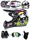 LZSH Casco de motocross profesional motocross MX casco de motocross casco de moto casco de moto casco y guantes & máscara gafas de protección, ECE homologado niños quad bike ATV go-kart-helm (E,S)