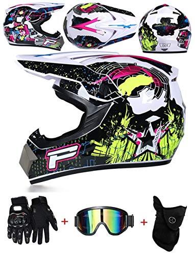 LZSH Casco de motocross profesional motocross MX casco de motocross casco de moto casco de moto casco y guantes & máscara gafas de protección, ECE homologado niños quad bike ATV go-kart-helm (E,M)