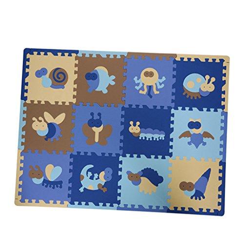 MagiDeal Juego de Baldosas de Espuma para Niños, Tapetes de Espuma Entrelazados, Juego de 12 Piezas - Insecto Azul, 30x30x1cm