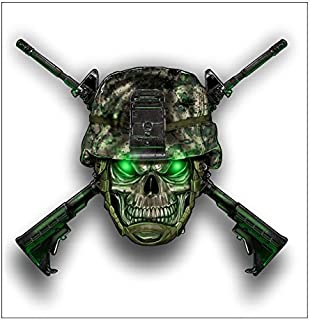 Skull Army Helmet w guns sticker / decal
