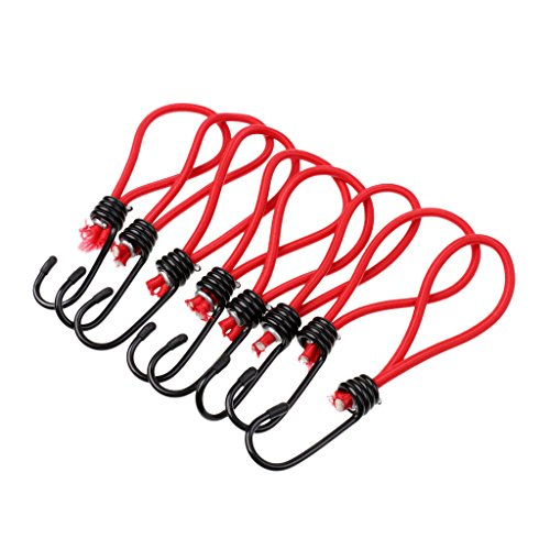 MagiDeal 8pcs Crochet pour Sandow Support De Corde Élastique Accessoire Bâchée Outil Escalade - Rouge, 15 cm