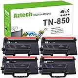 Aztech Compatible Toner Cartridge Replacement for Brother TN850 TN-850 TN 850 TN820 TN-820 Brother HL-L6200DW HL-L6200DWT MFC-L5900DW MFC-L5700DW MFC-L6800DW HL-L5200DW MFC-L5850DW (Black, 4-Pack)