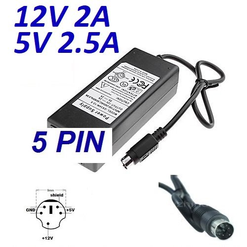 CARGADOR ESP ® Stroomvoorziening Oplader 12V 2A 5V 2.5A 5 Pin DIN Vervanging voor Harde schijf DA-30C01 WD Elements WD5000E035-00 HDD Plaatsvervanger Replacement