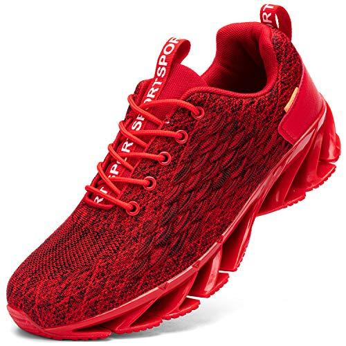 Kefuwu Zapatos de Running para Hombre Transpirables Aire Libre y Deportes Correr Asfalto Casual para Deportivas de Malla(Rojo 42)