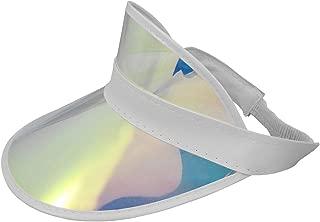 Nicky Bigs Novelties Tennis Beach Iridescent Mirrored Plastic Sun Visor Hat, One Size