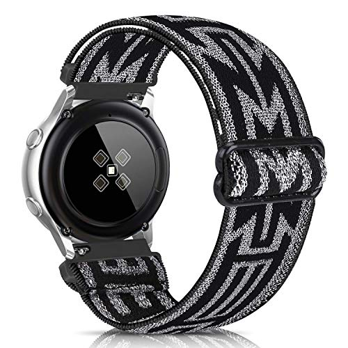 ShuYo 20mm Elastic Watch Band Compatible for Galaxy Watch/Active 2 40mm 44mm/ Gear S2 Classic/Gear Sport/Ticwatch Gizmo/Pebble,Soft Elastic Cotton Sport Replacement Strap Wristbands for Women Men