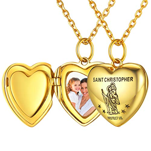 FaithHeart St Christopher Locket Necklace Women 925 Sterling Silver Pendant Jewelry Personalized Photo Custom Locket Necklaces for Girls Catholic Protective Charms