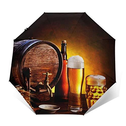 Paraguas Plegable Automático Impermeable Cerveza Barril Vasos Cerveza Madera, Paraguas De Viaje Compacto a Prueba De Viento, Folding Umbrella, Dosel Reforzado, Mango Ergonómico