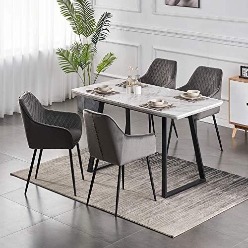 6X Esszimmerstuhl Wohnzimmerstuhl aus Stoff (Samt) Farbauswahl Retro Design Armlehnstuhl Stuhl mit Rückenlehne Sessel Metallbeine Schwarz (Gray, 6)