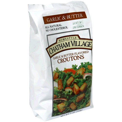Chatham Village Croutons, Garlic & Butter Flavored, 5-Ounce Bags (Pack of 12)
