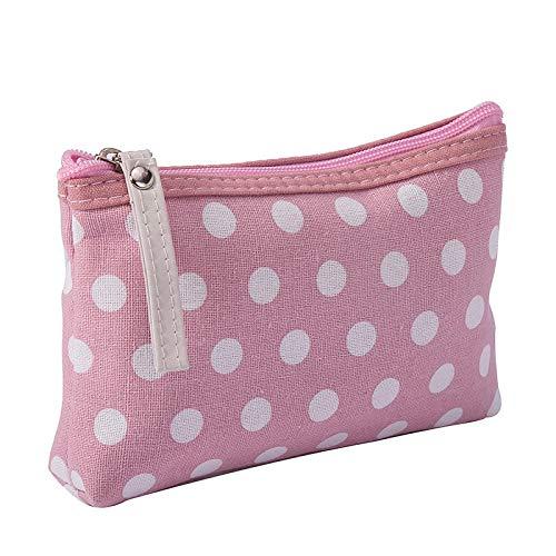 Sac cosmétique mignon avec motif multicolore, sac de rangement de voyage essentiel, sac cosmétique féminin-Rose