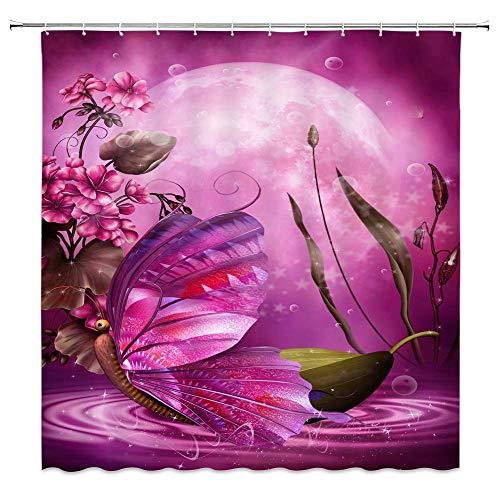 AdaCrazy Lila Landschaft dekorative Duschvorhänge Märchen Szene Schmetterling Boot rosa Geranie Blumen grüne Pflanze Blätter Vollmond Moderne Badezimmer Vorhänge 71 x 71 Zoll