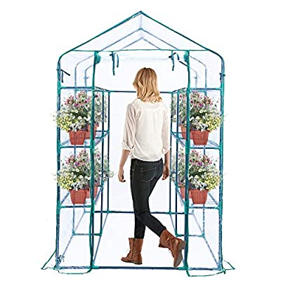 Worth Garden - Walk - in Greenhouse - 3 Tiers greenhouses with Automatic Irrigation Hose - Windows and Anchors Include - Outdoor Indoor Greenhouse for Grow Plants