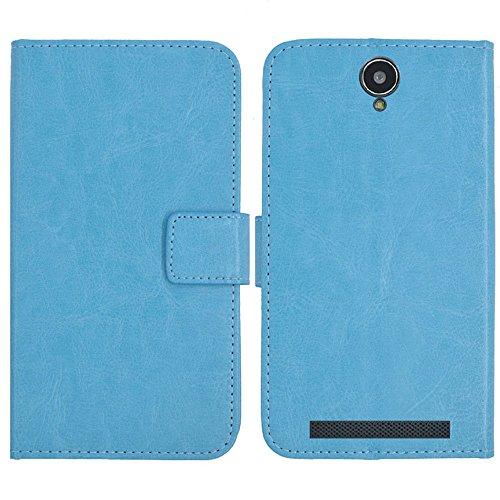 TienJueShi Blau Flip Book-Style Brief Leder Tasche Schutz Hulle Handy Hülle Abdeckung Fall Wallet Cover Etui Skin Fur Cubot H1 5.5 inch