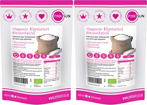 PINK SUN Organic Erythritol 2kg (1kg x 2) Sweetener Granulated Sugar Replacement Alternative Zero Calories Bio