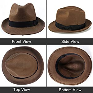 Anycosy Wool Trilby Hat Man's Felt Fedora Hat Panama Classic Manhattan Structured with Black Band (Brown)
