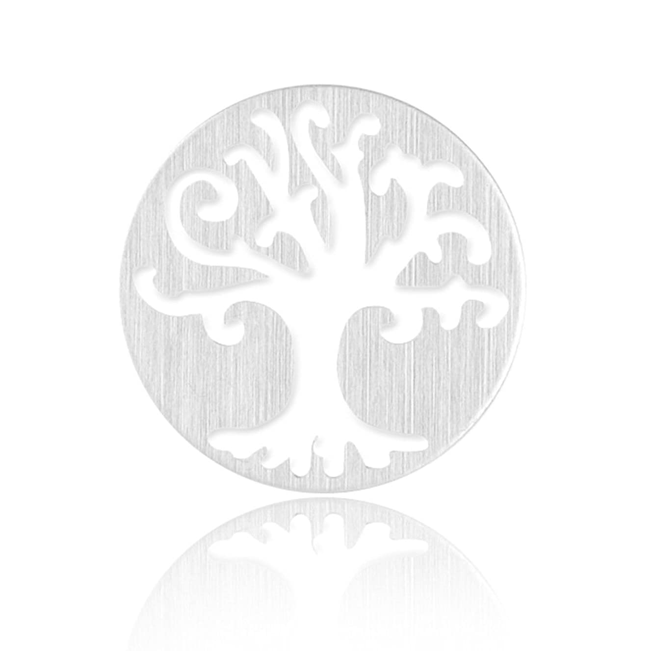 Paialco Stainless Steel Tree of Life Round Window Plate for Floating Charm Pendant