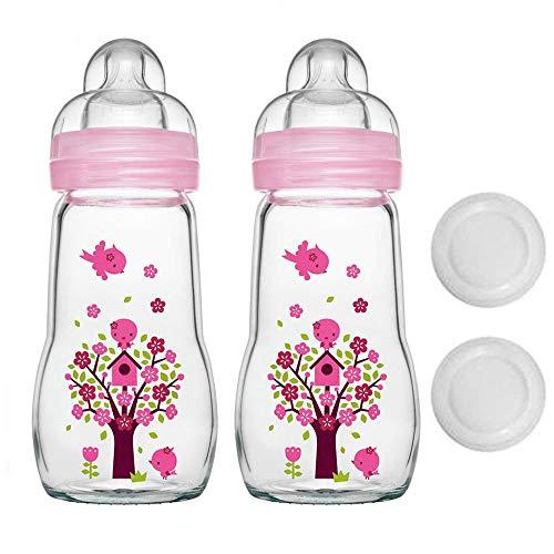 MAM Glasflasche Glas Flasche Feel Good Glass Bottle 260 ml Girl Glas Flasche inkl. Sauger Größe 1 ab Geburt