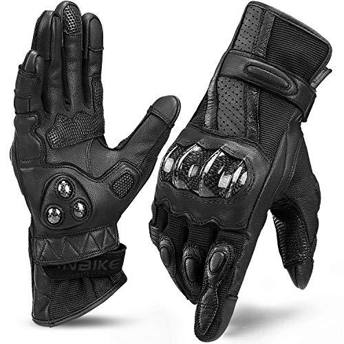 INBIKE Guanti Moto Pelle di Capra Touchscreen Protezione Antiscivolo Sportivo (Nero,L)