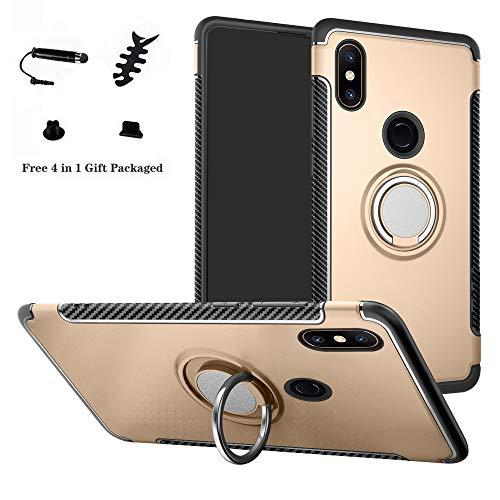 LFDZ Xiaomi Mi Mix 2S Hülle, 360 Rotation Verstellbarer Ring Grip Stand,Ultra Slim Fit TPU Schutzhülle für Xiaomi Mi Mix 2S (Nicht für Xiaomi Mi Mix 2),Gold