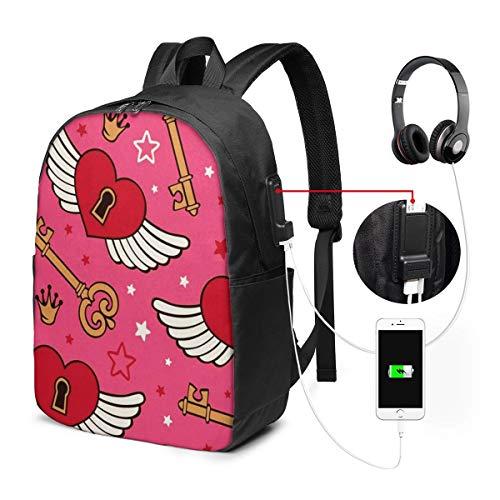 Laptop Rucksack Business Rucksack für 17 Zoll Laptop, Vektor Herzen Flügel Schulrucksack Mit USB Port für Arbeit Wandern Reisen Camping, für Herren Damen