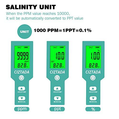 Digital Salinity Tester for Salt Water - Aquarium Salinity Meter with ATC, IP67 Waterproof, 0-200 PPT Large Range Multi-Parameter Tester for Seawater, Fish Tank, Hydroponics