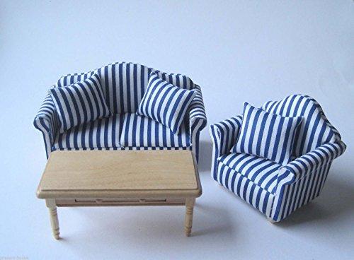 Couchgarnitur Polstermoebel Sofa, Sessel, Tisch Puppenhaus Möbel Wohnzimmer Miniatur 1:12