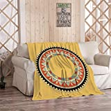 Ajckly Native American Throw Blanket, Circle Round Rosette Indian Circular Ancient Arabian Egyptian Home Soft Flannel Cozy Warm Lightweight Bedding Blanket for Couch Sofa Camping, 40 x 50 Inches