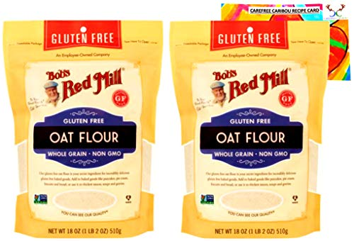 Bob's Red Mill Gluten Free Oat Flour Bundle. Includes Two (2) 18oz Packages of Bobs Red Mill Gluten Free Oat Flour and a Recipe Card from Carefree Caribou! Gluten Free & All Natural!